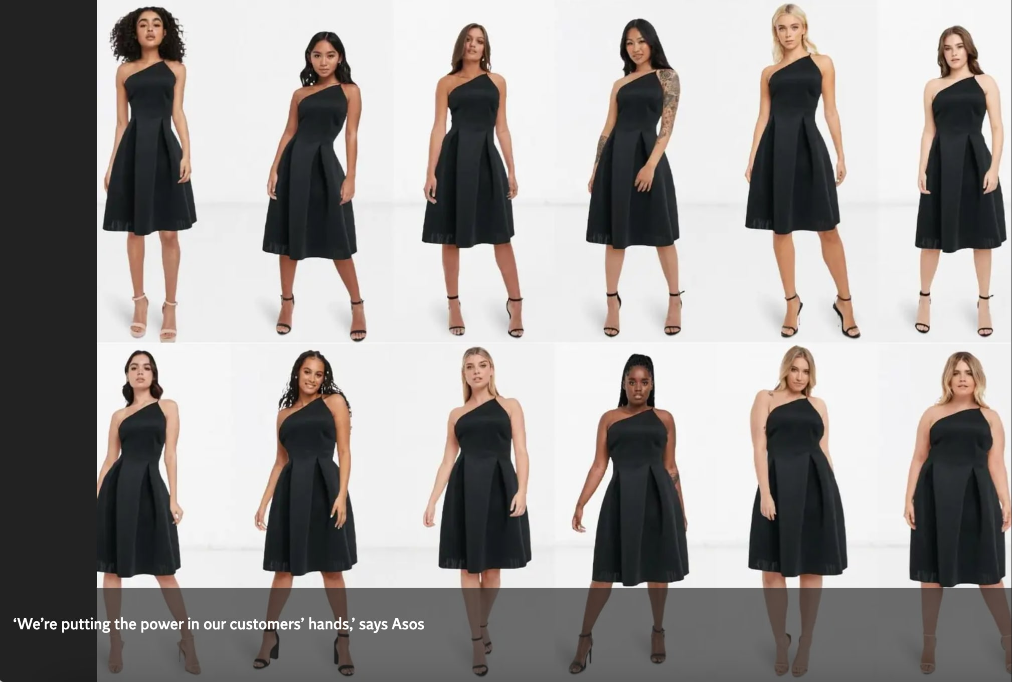 12 women all wearing the same black dress, showing how it looks on different body types