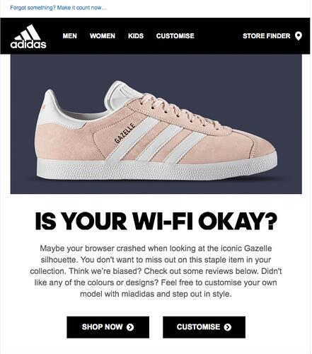 Adidas page with a show that asks if your wi-fi okay?