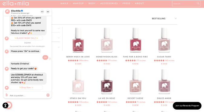 Ella and Mila Website Product page