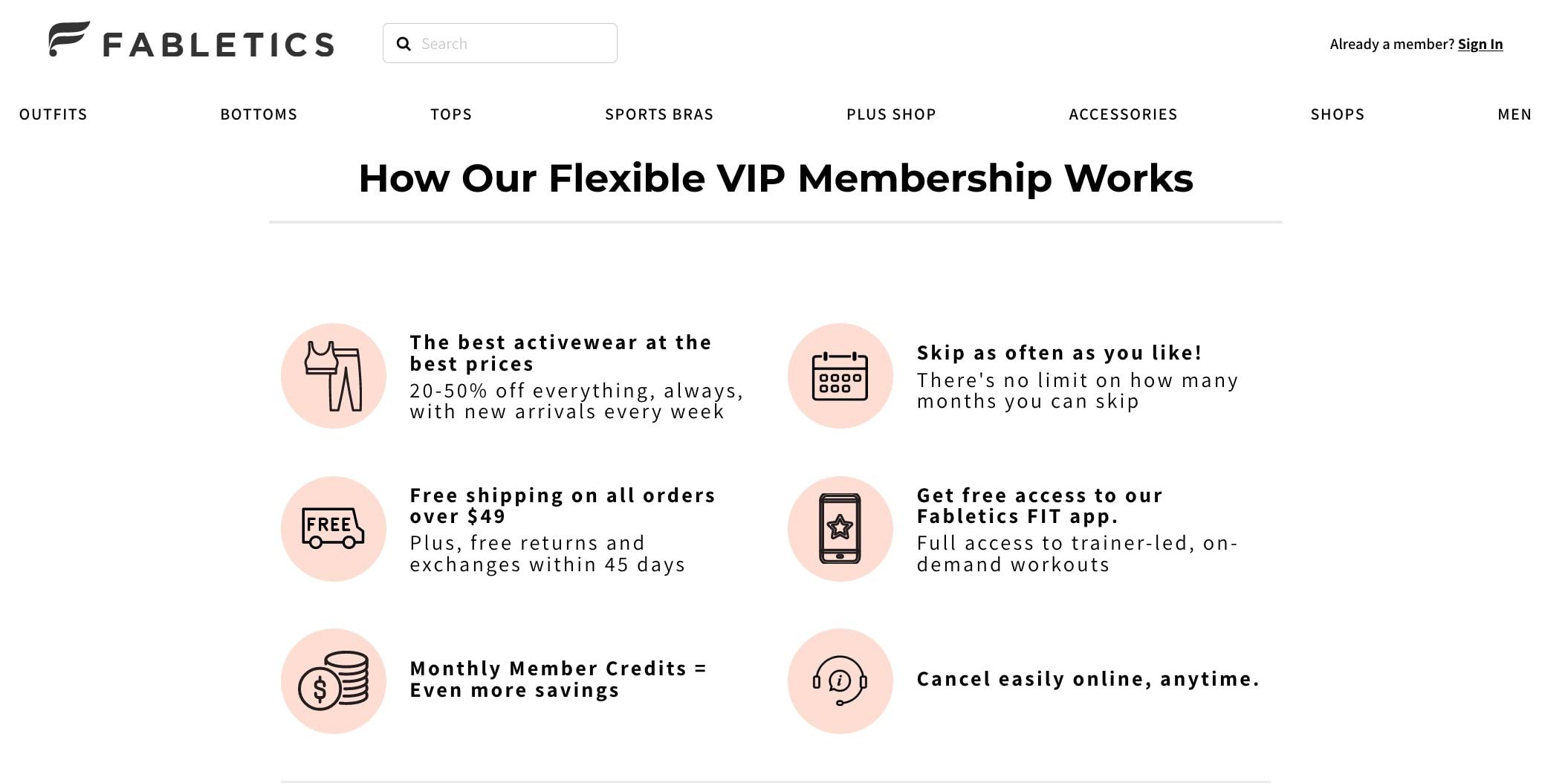 Fabletics info on their loyalty program