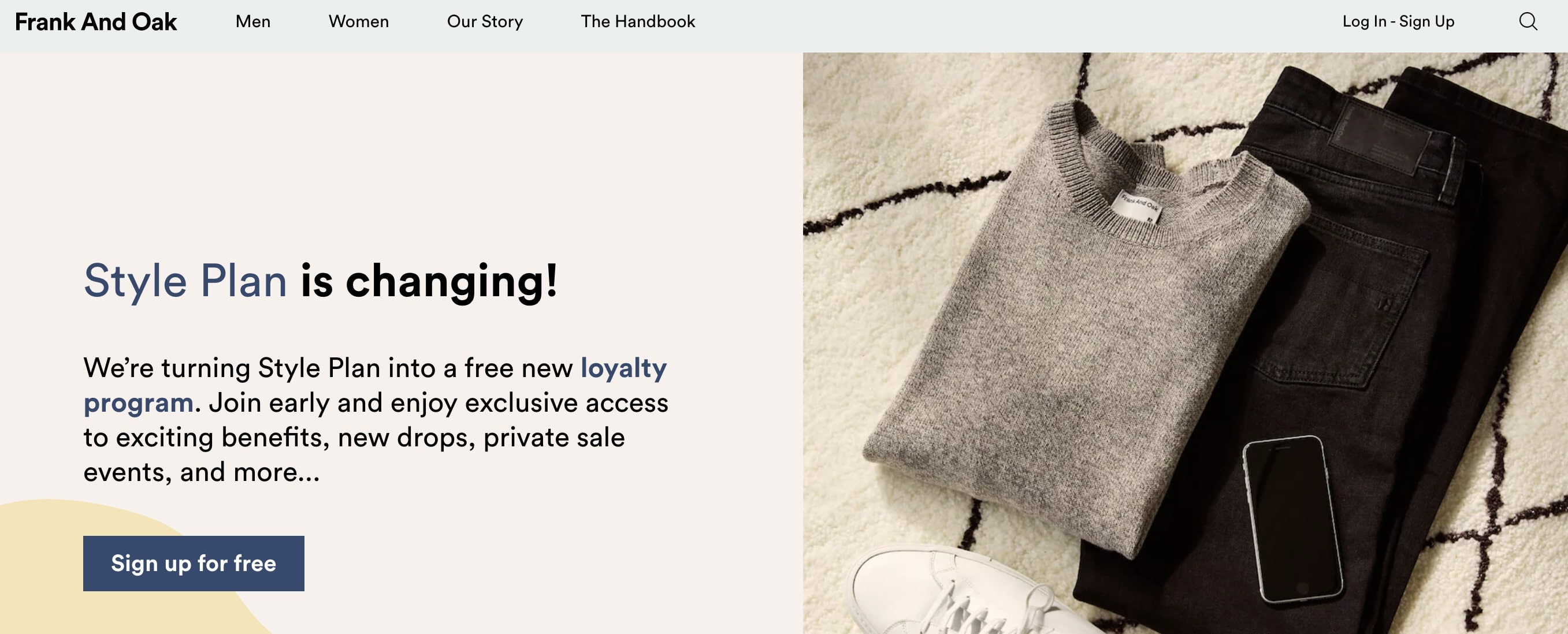 Frank and Oak subscription on their website