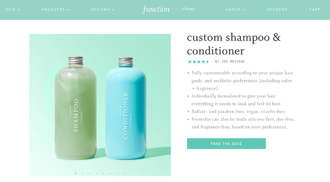 Function of Beauty Shampoo Quiz Website Page