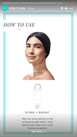 Instagram Story called How To Use. It shows an image of a woman with a SiO Beauty patch on her neck. It explains how to store and repeat using the patches.