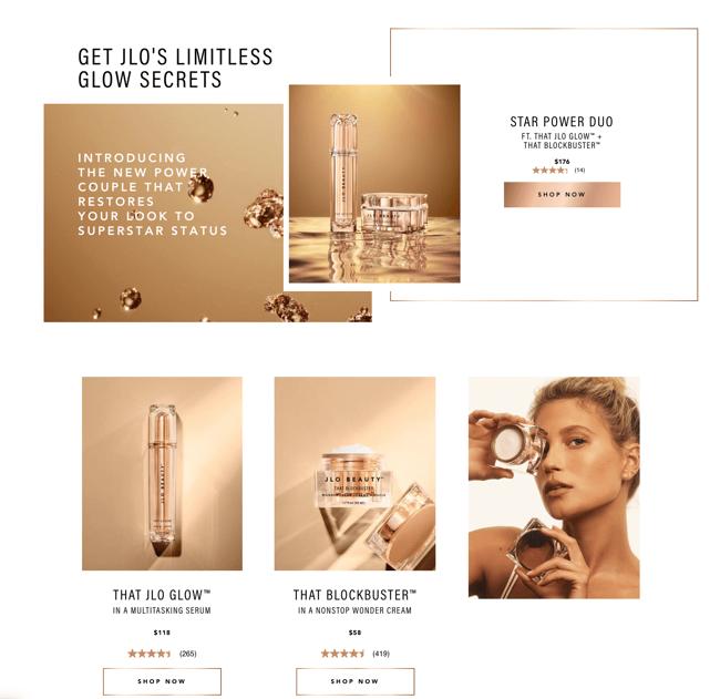 JLO Beauty Inspiring Website Page