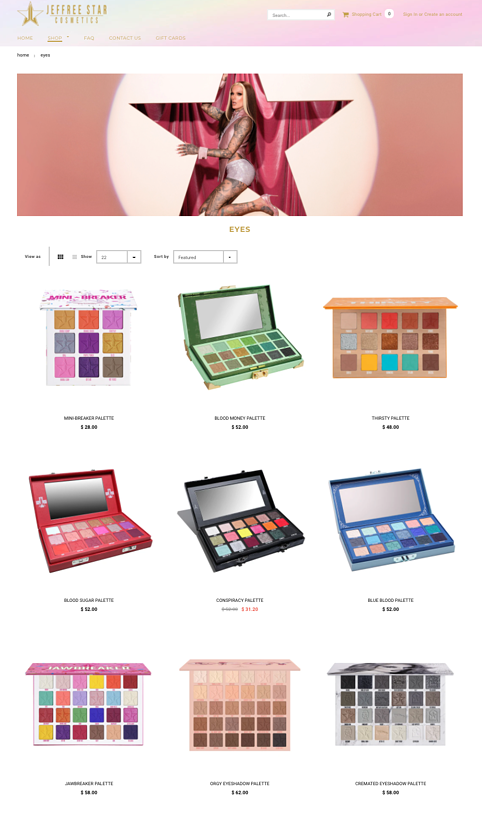 Jeffree Star Website Product Page Inspiration