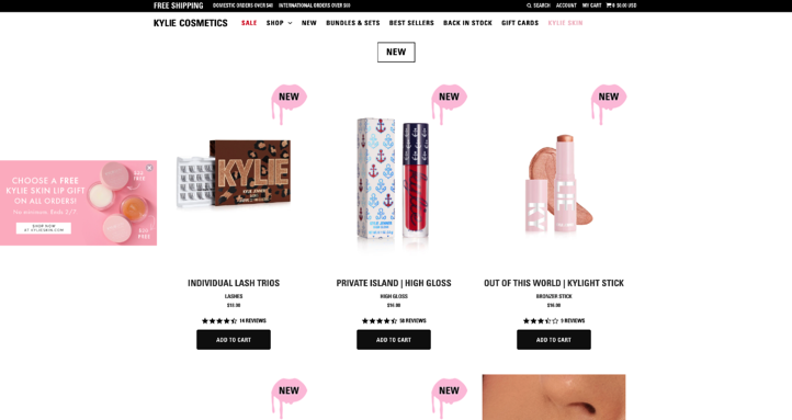 Kylie Cosmetics Website Product Page