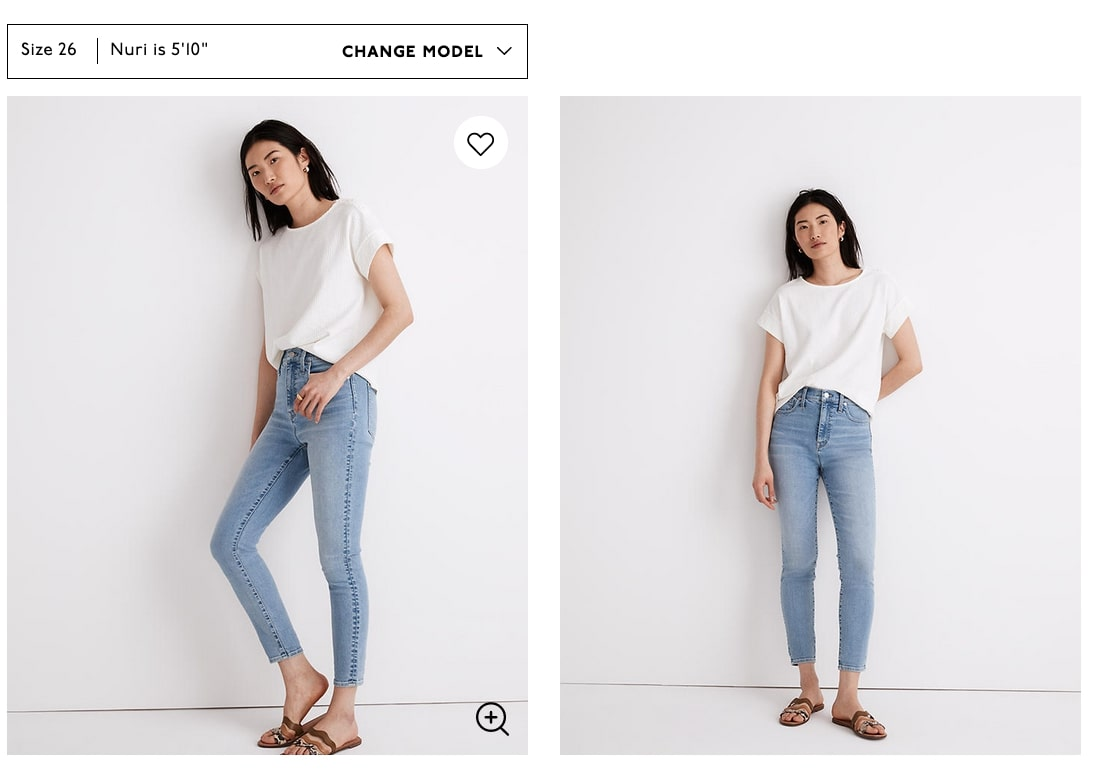Model wearing white top and light blue jeans