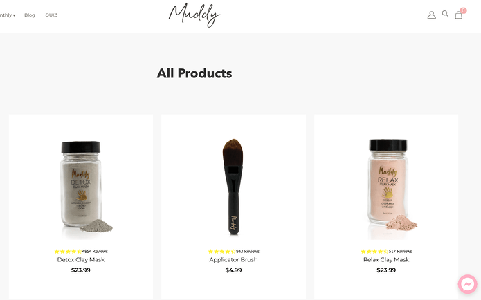 Muddy Body Website Product Page