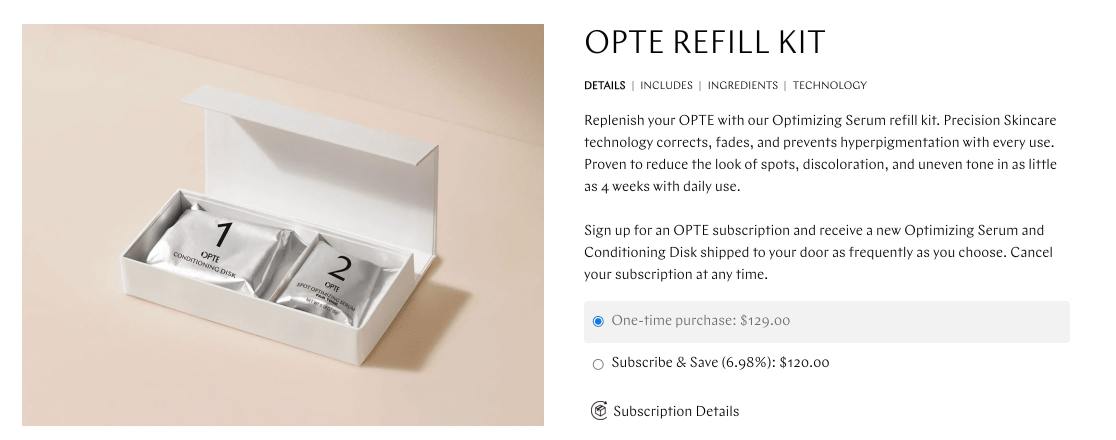OPTE Refill Kit product page