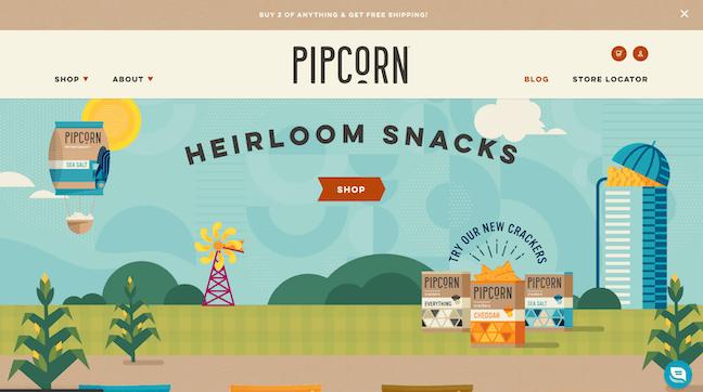 Pipcorn homepage