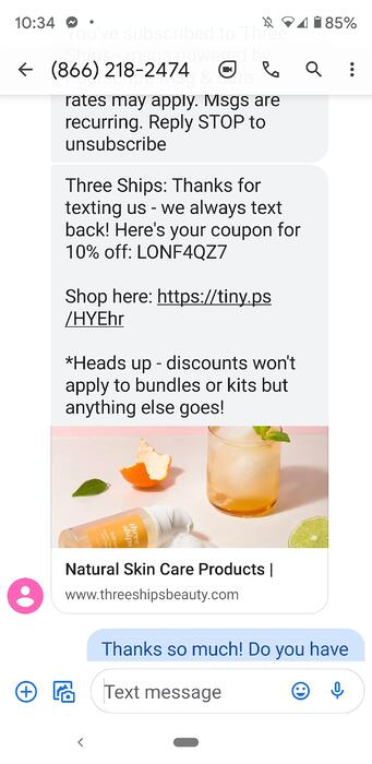 SMS message from Three Ships Beauty offering a discount