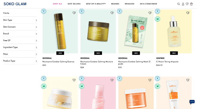 SOKO Glam Website Product page