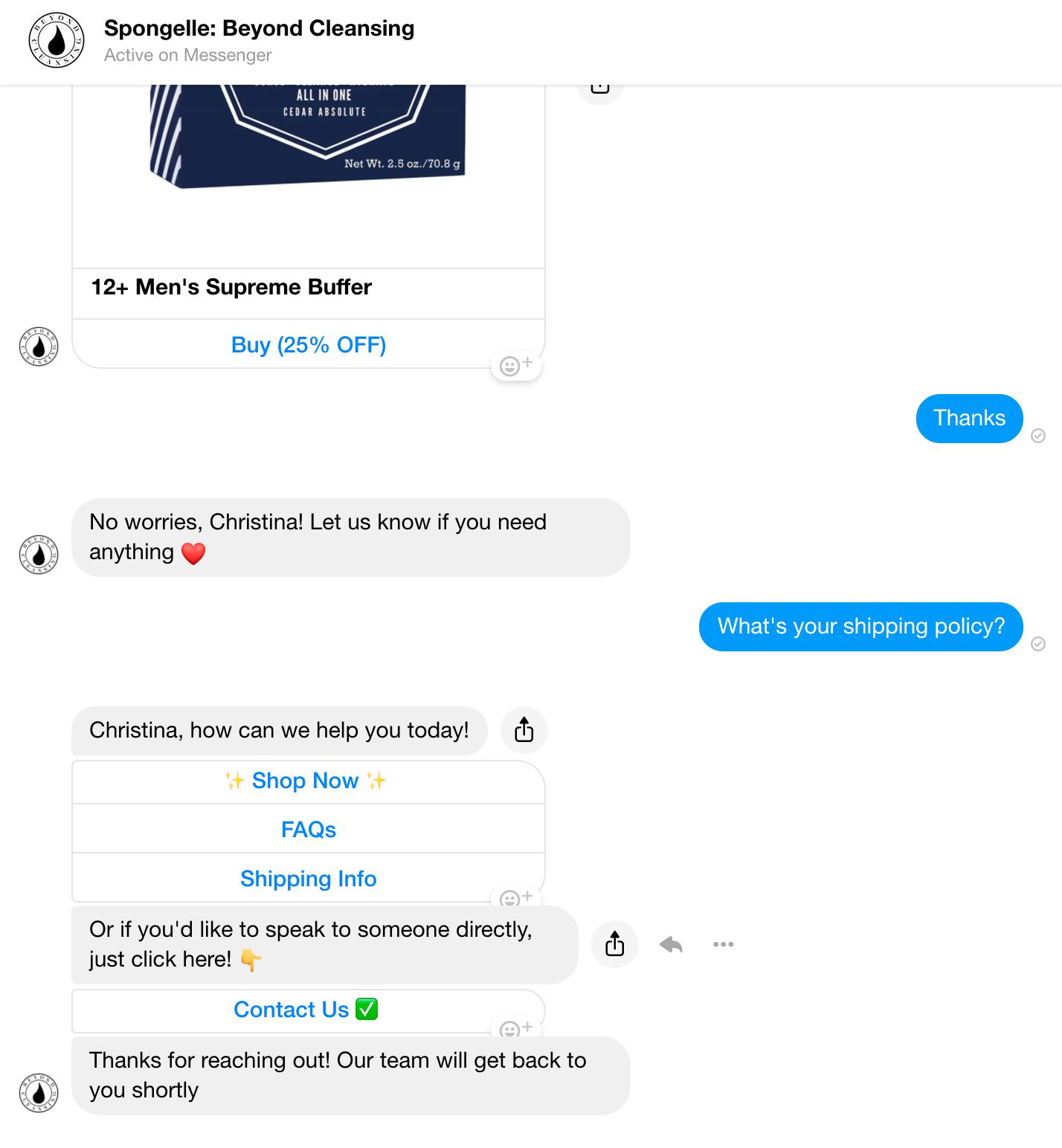 Spongelle AI smart responses