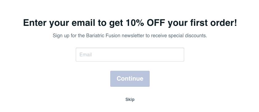 Bariatric Fusion quiz opt in incentive