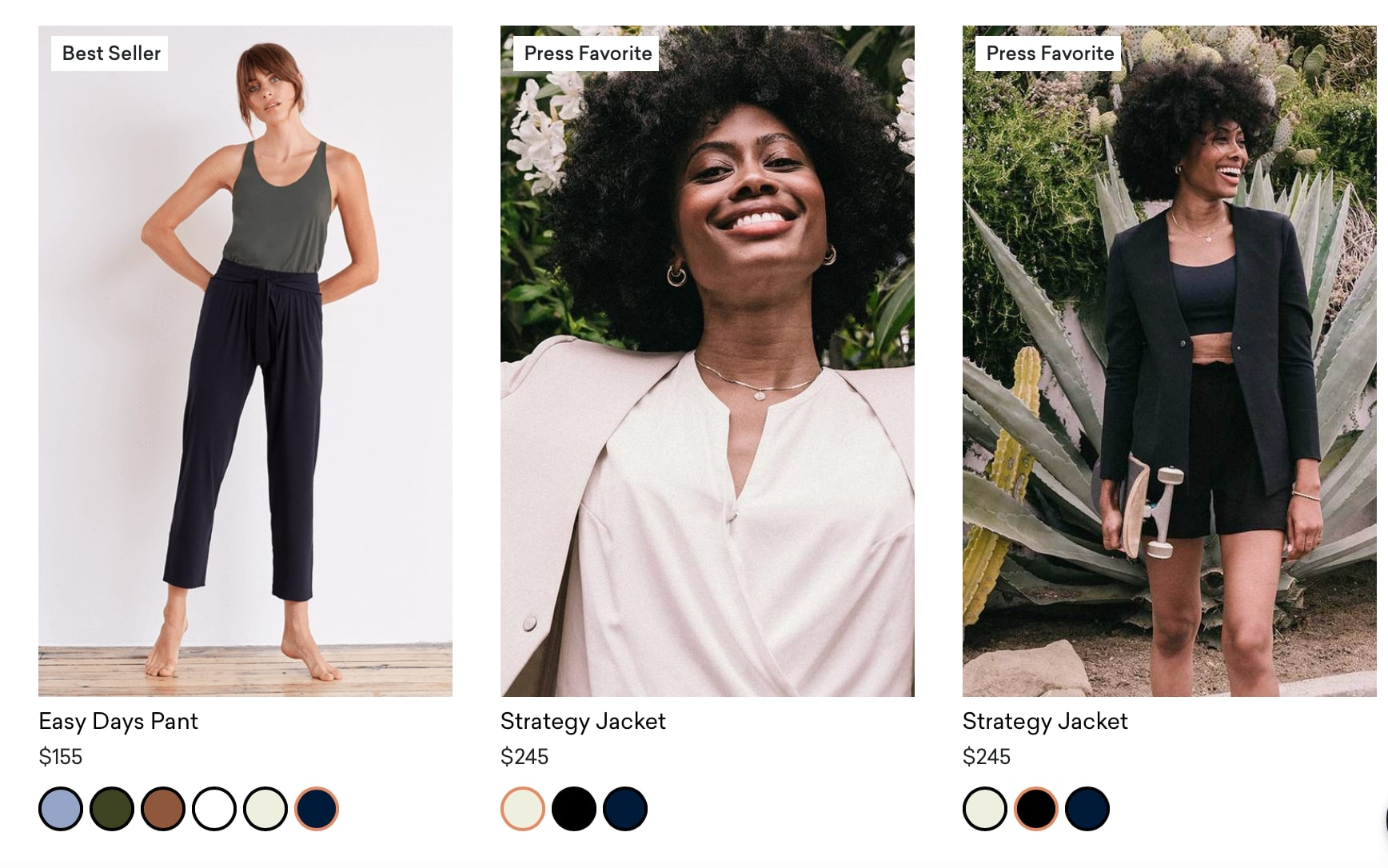 Screenshot of Adays best sellers section showing three different clothing items