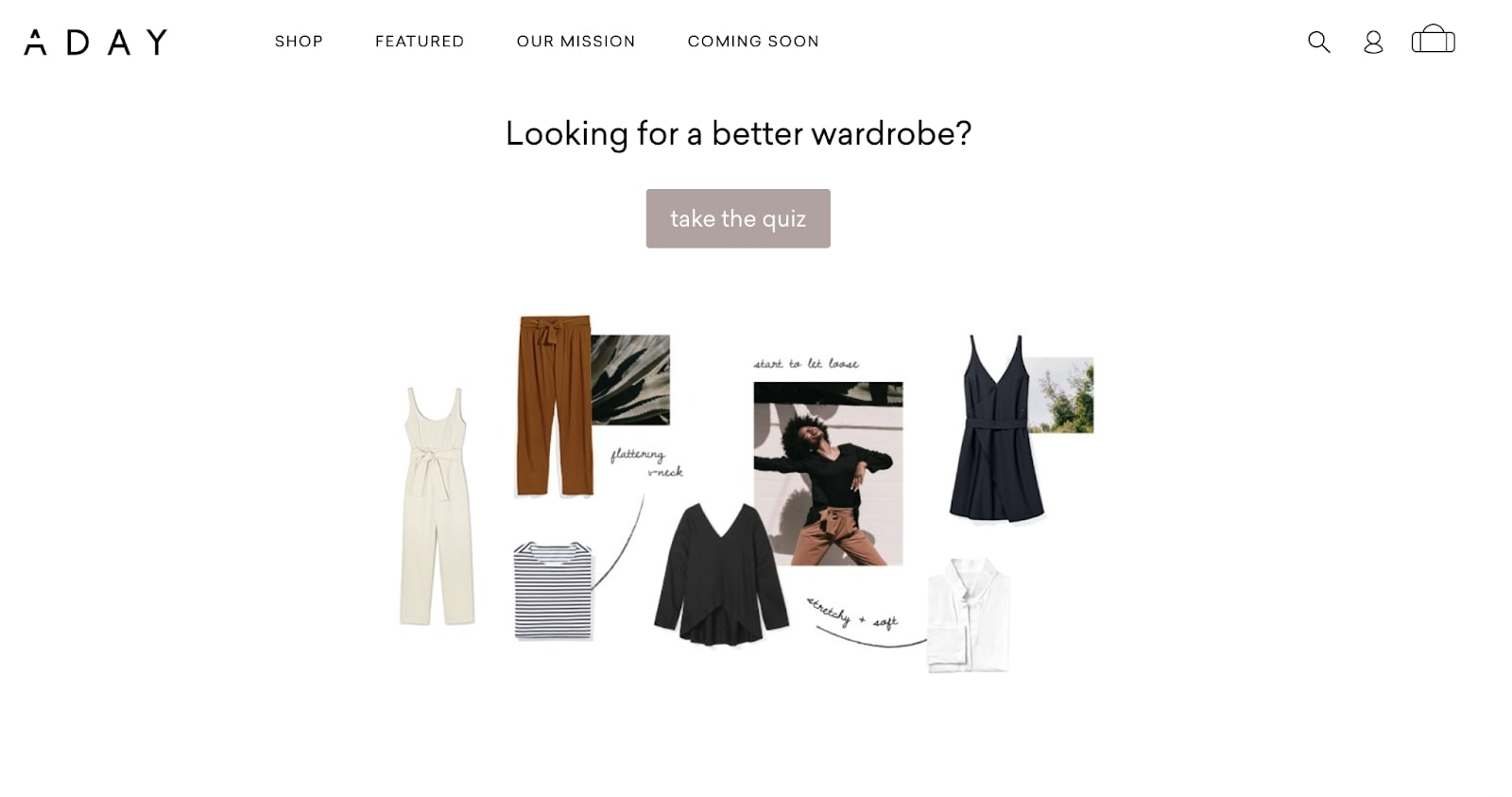 Screenshot of Adays online quiz that asks customers if they're looking for a better wardrobe
