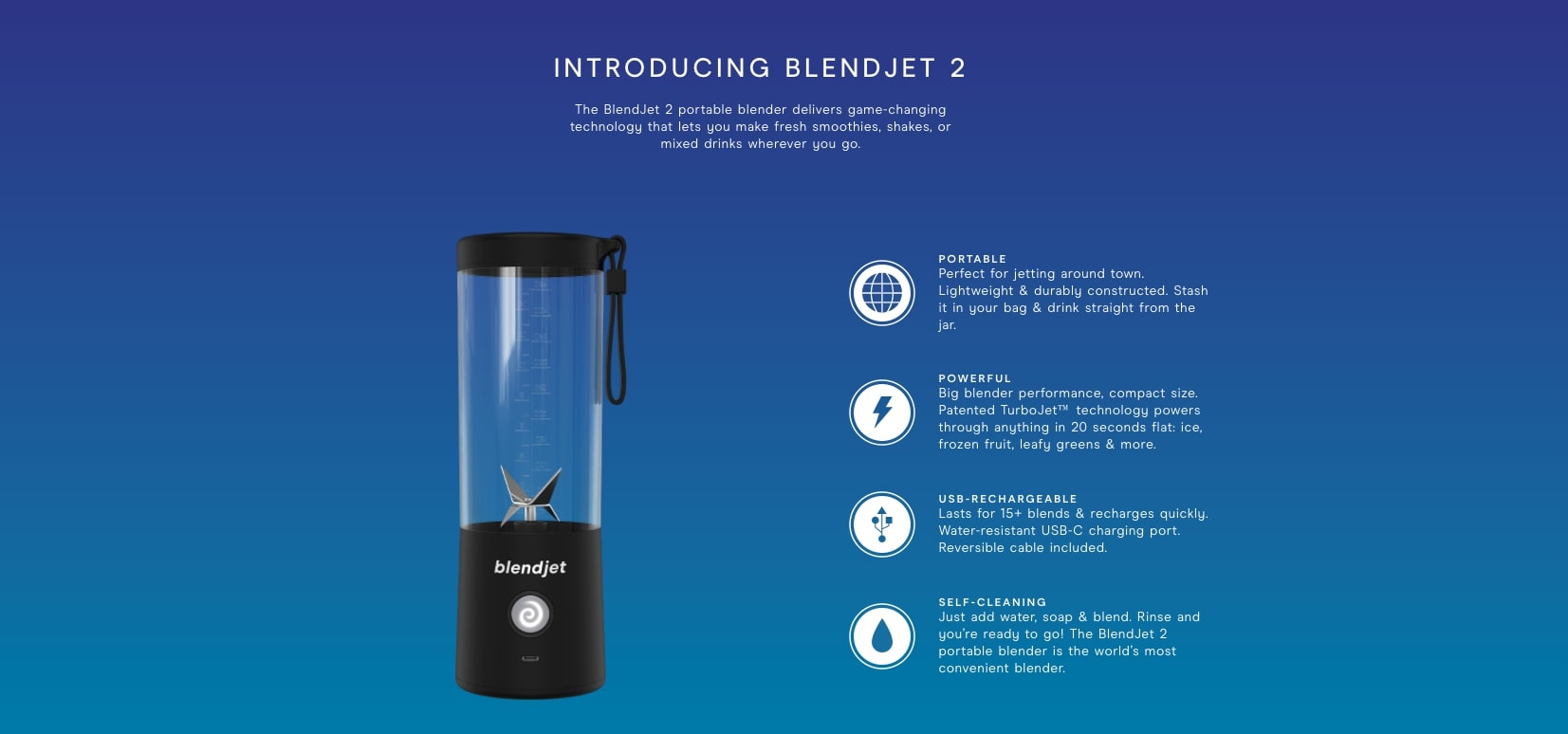 Screenshot of Blendjets homepage showing the Blendjet and its features