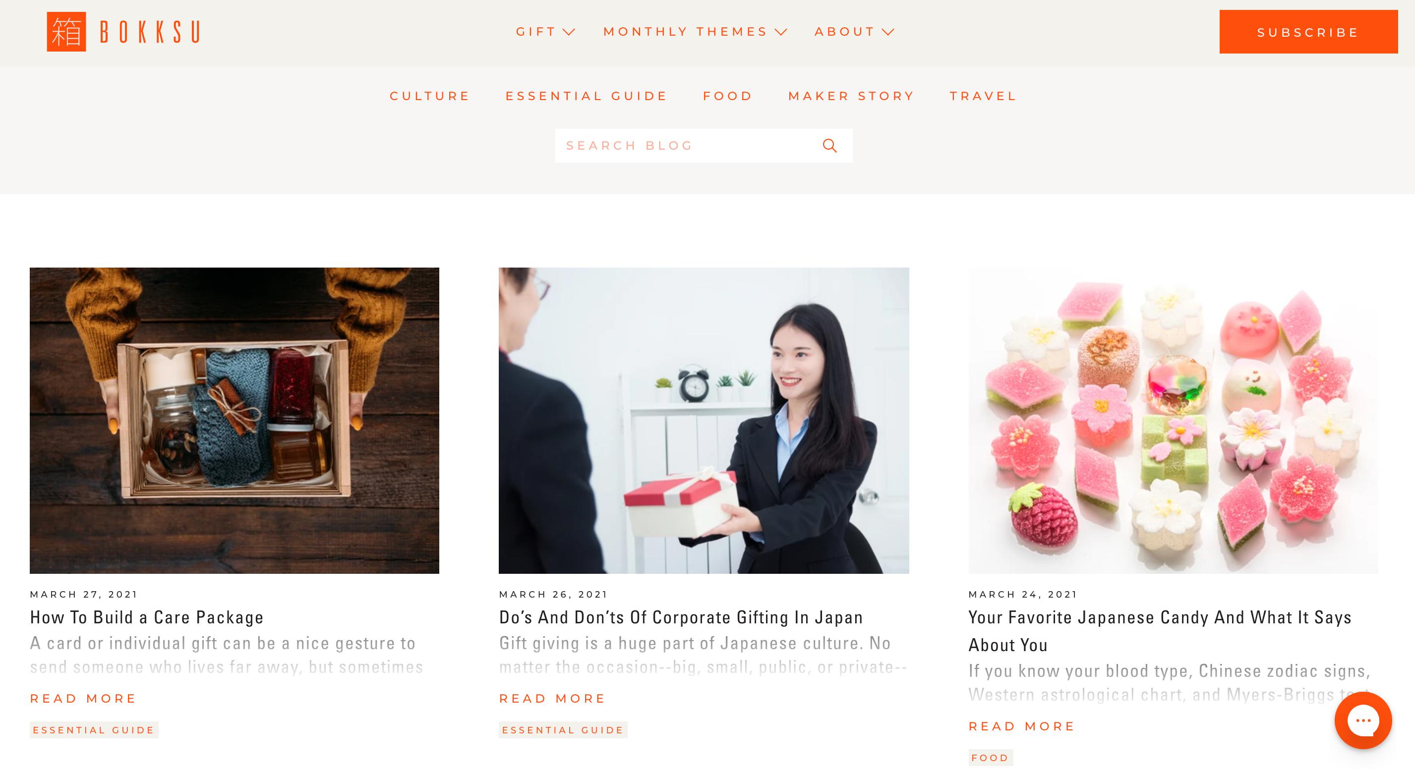 Screenshot of Bokksus website blog page