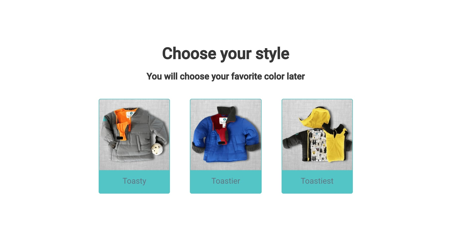 Screenshot of Buckle Me Baby Coats quiz page online. The question asks to choose your favorite style and shows three images of baby coats to choose from.