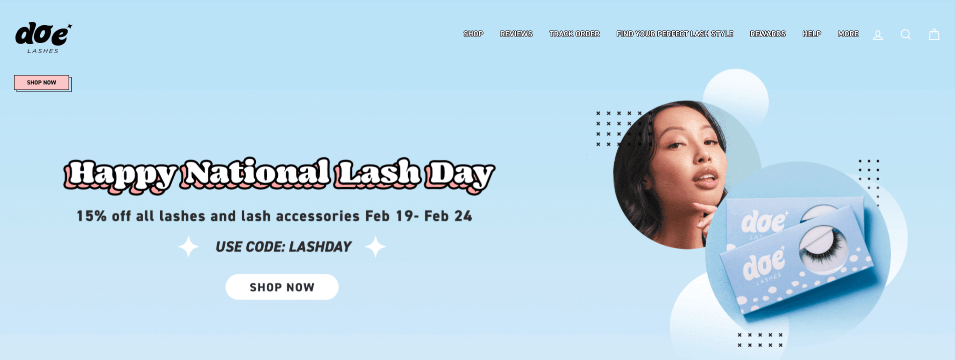 Screenshot of Doe Lashes home page