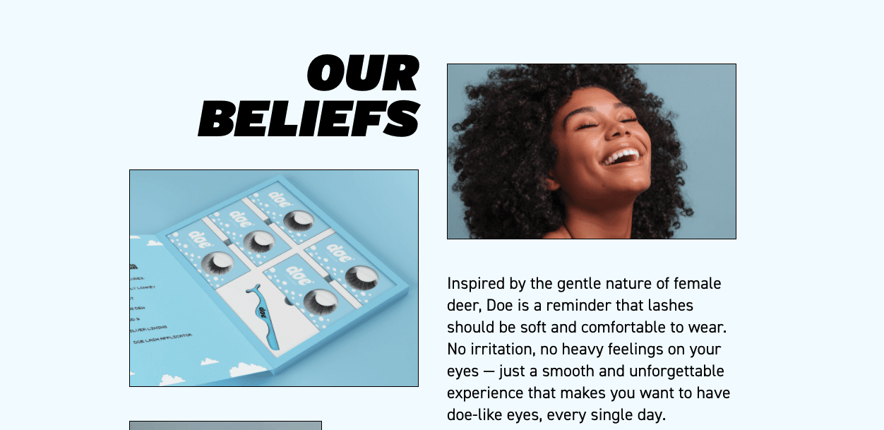 Screenshot of Doe Lashes rewards page that shares their company beliefs