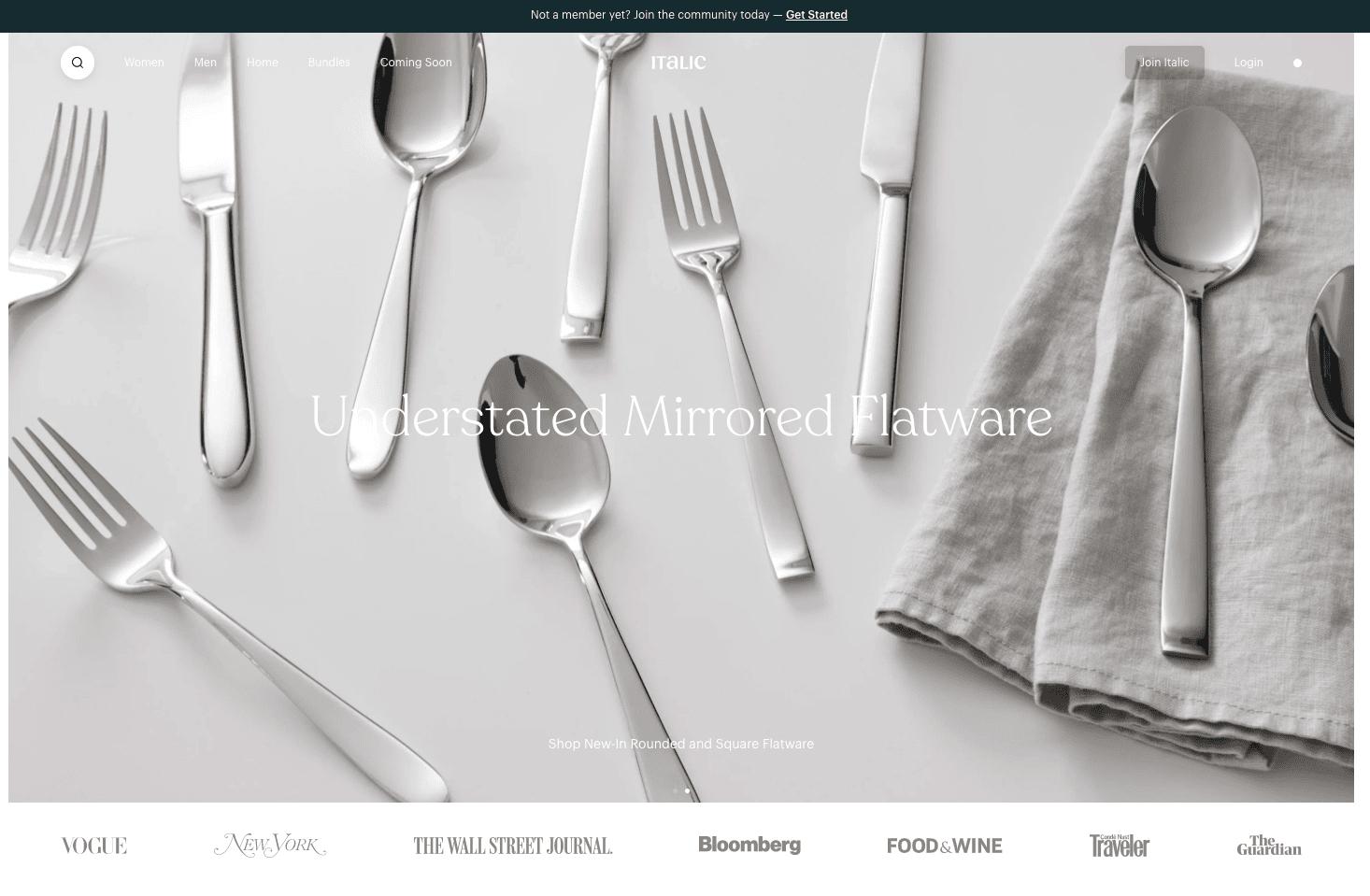 Screenshot of Italics homepage