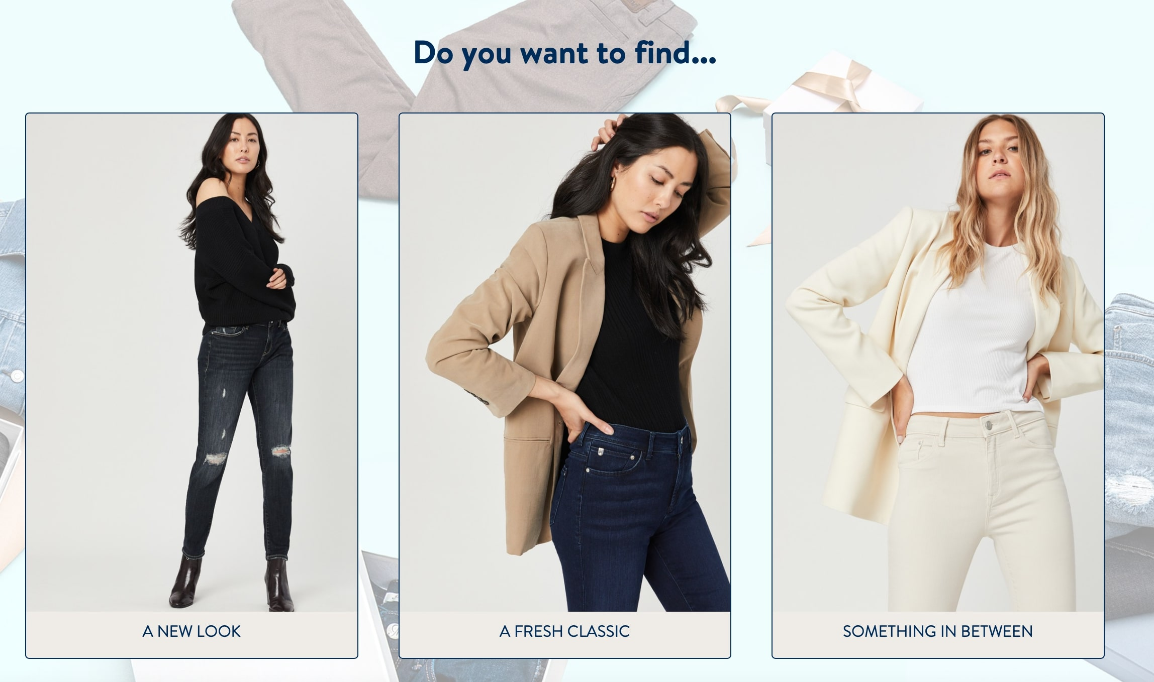 Screenshot of Mavis quiz asking what kind of look you want to find. It offers three different options