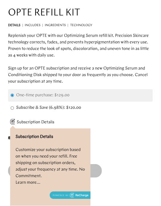 Screenshot of OPTE product page showing their subscription offer and its details