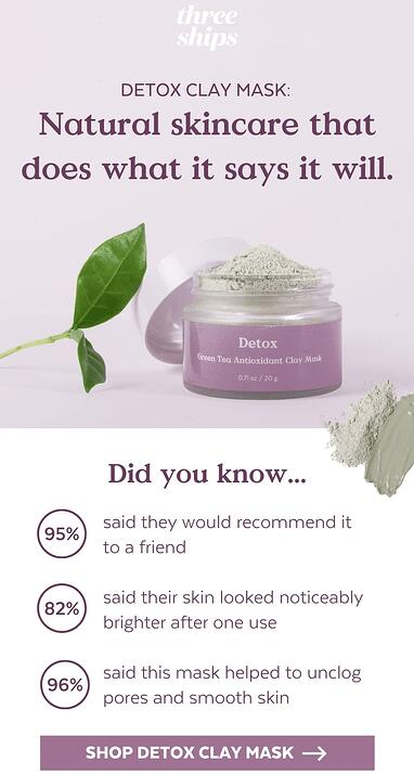 Screenshot of Three Ships email promoting their Detox Clay Mask.
