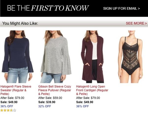 Section on a website that says You also might like featuring different clothing items