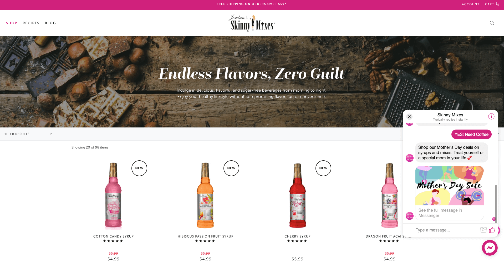 Skinny Mixes product Page