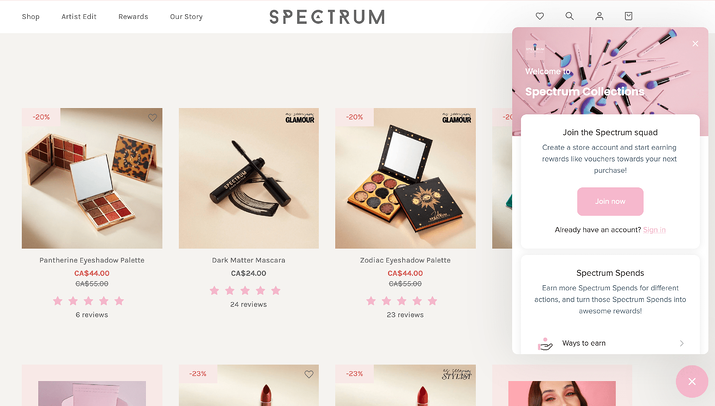 Spectrum Product Page example with Loyalty Program