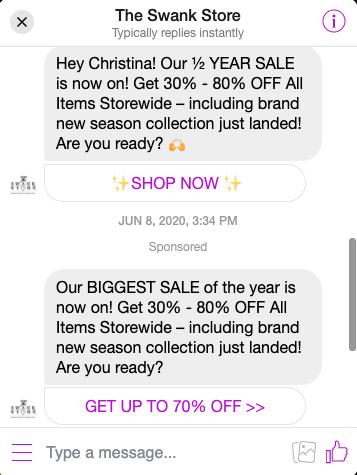 Swank Store Messenger Sale Example