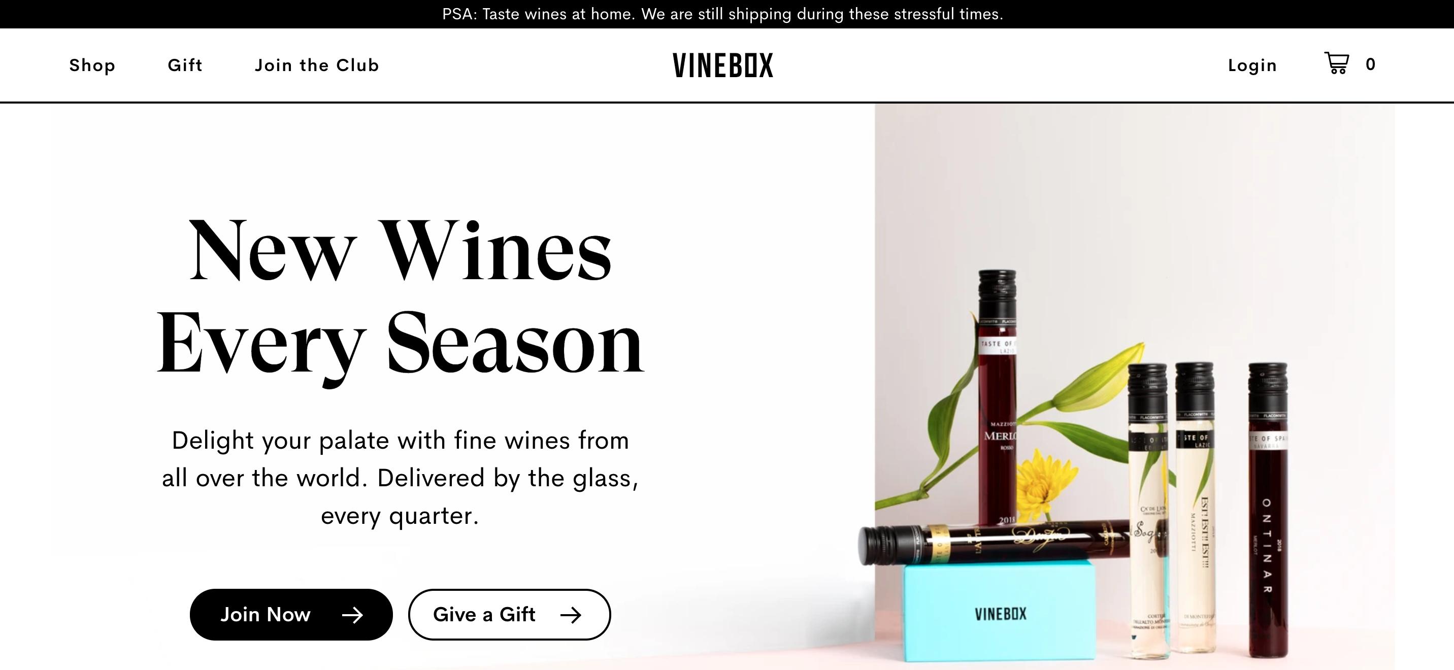Vinebox homepage