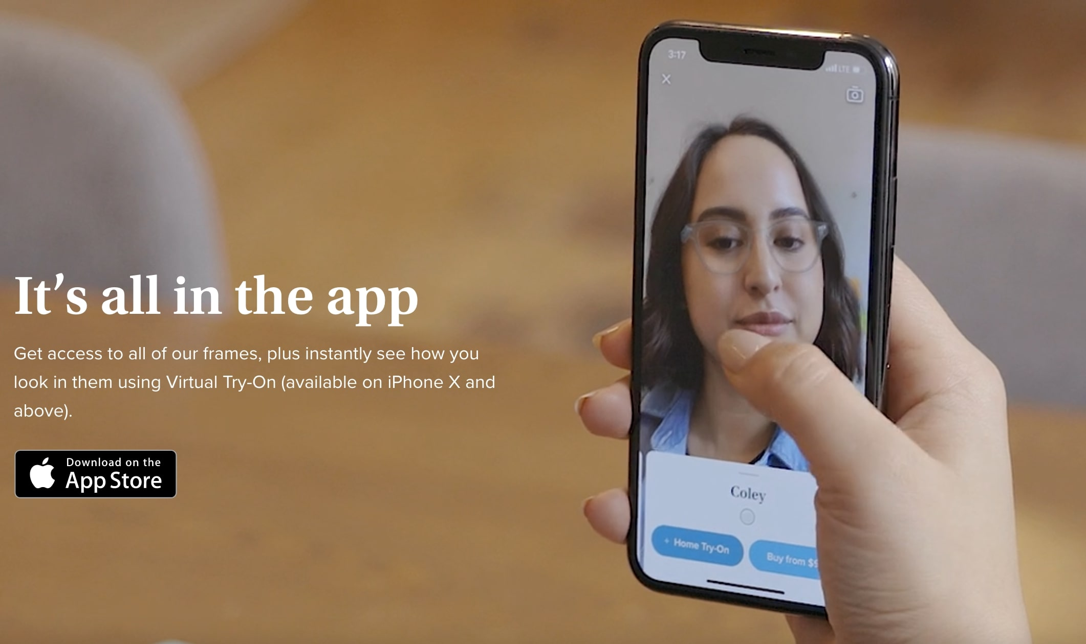 Warby Parker promotion about their virtual try-on in their app