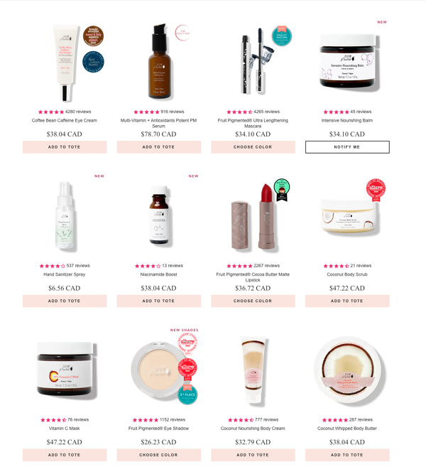 Website product page inspiration - 100% pure