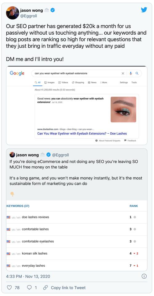 Jason Wong tweet about SEO