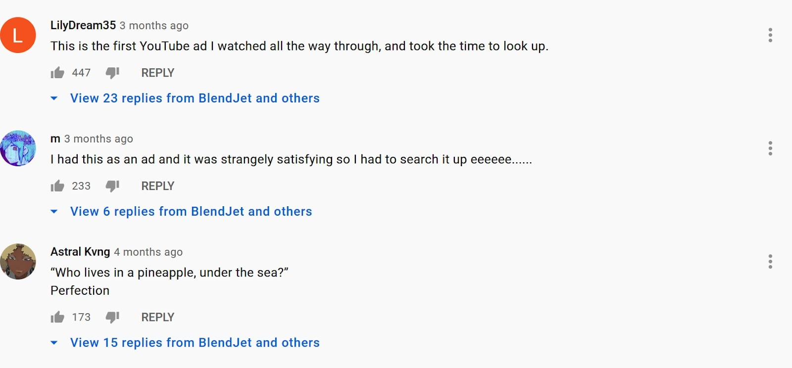Screenshot of YouTube comments from Blendjet's community