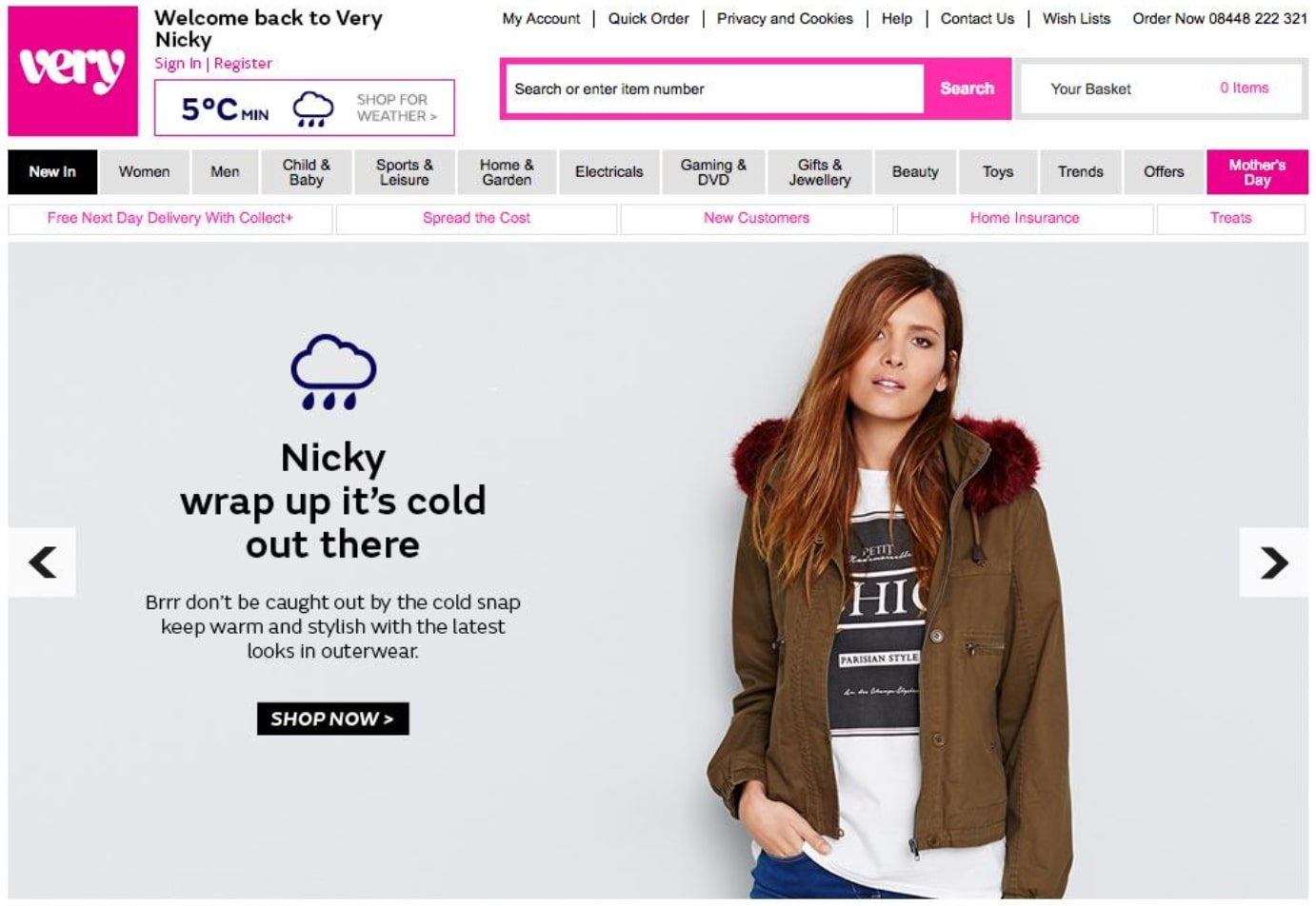 screenshot of verys website showing personalized message about clothing to wear with the weather a customer has