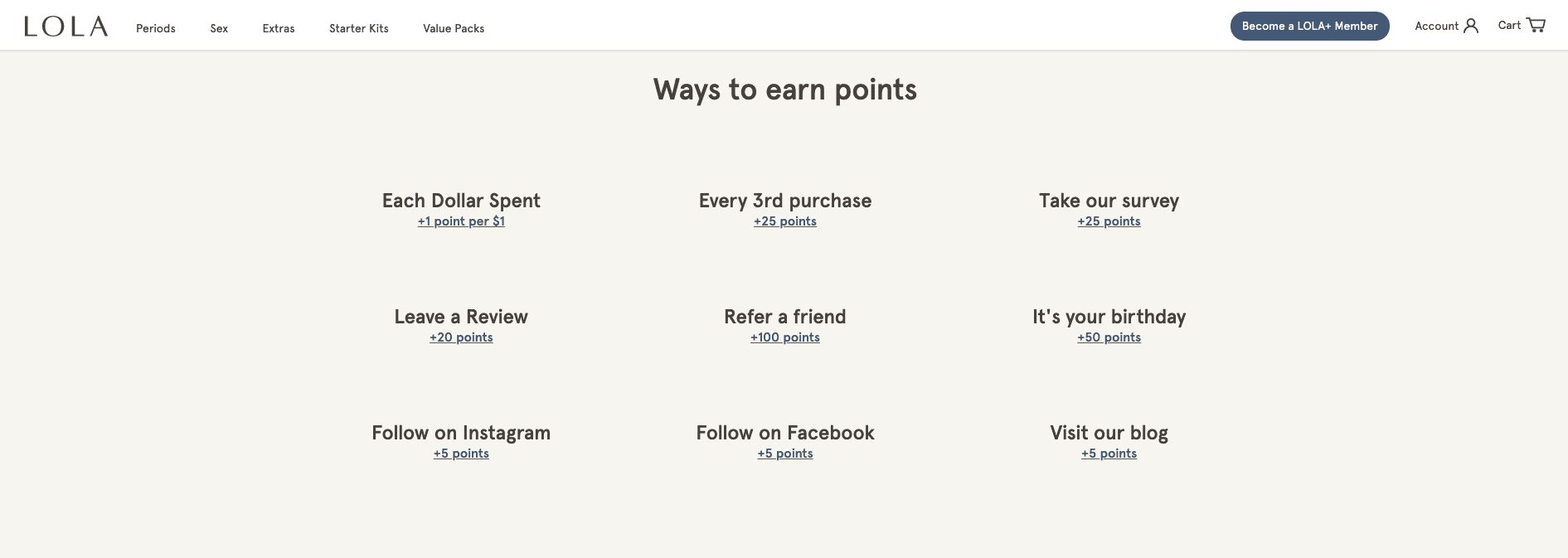 Screenshot of LOLA's rewards program page